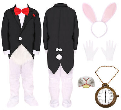 KIDS MR WHITE RABBIT COSTUME CHILDS FANCY DRESS - White Rabbit Outfit