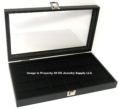 1 Glass Top Lid Black 24 Space Jewelry Display Box Case Pendant Pin Brooch