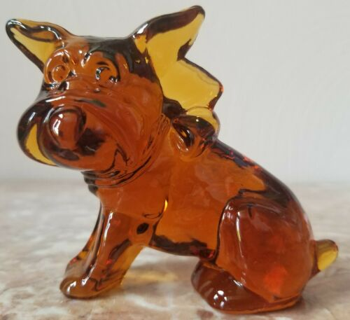 Imperial Animal Parlour Pup Scottish Terrier Bull Dog Figurine - Amber Glass