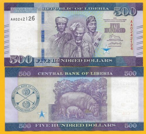 Liberia 500 Dollars p-36 2016 UNC Banknotes
