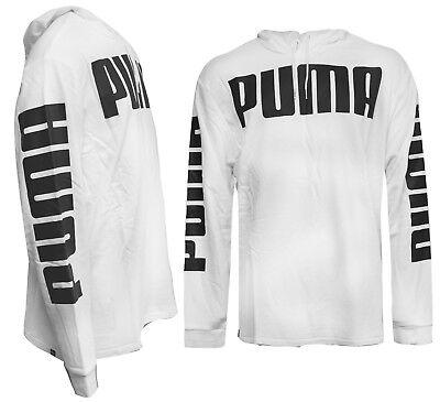Puma Rebel Mens Hooded Sweatshirt Training Hoodie Jumper White 850078 02 M6