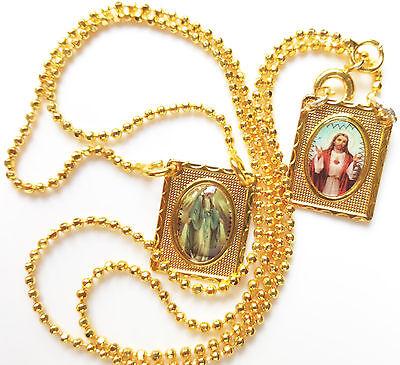 Scapular medal Vintage Catholic scapular Our Lady Of Grace Scapular 18K Gold