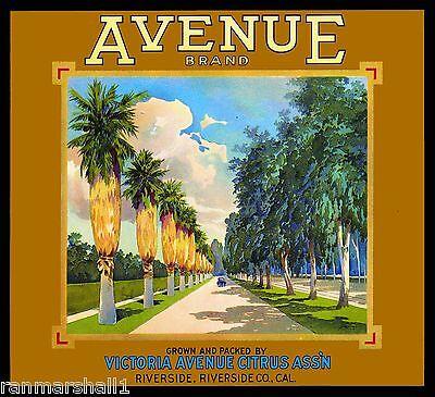 Riverside Magnolia Avenue Orange Citrus Fruit Crate Label Vintage Art Print