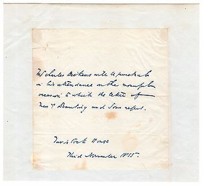 - Charles Dickens - Autograph Letter Signed - Plans to Attend Funeral He Arranged