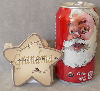 Christmas Ornament KURT ADLER Wood Star Message Grandma KURT ADLER 3""