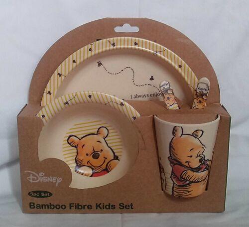 NEW DISNEY Winnie the Pooh 5pc Bamboo Fibre Kids Dinnerware Set Hunny Tumbly