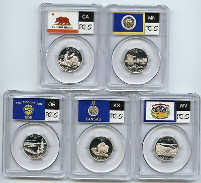 2005 SILVER State Flag 5-Coin (CA OR KS MN WV) Proof Set PCGS PR70 DCAM (2005 State Quarters Silver Proof)