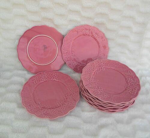 """Bordallo Pinheiro Ingrid Pink Flower Dinner Plates 10"""" Set of 3"""