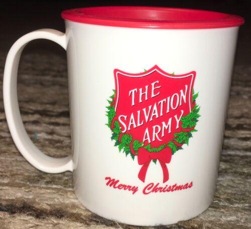 Salvation Army Merry Christmas Plastic Lidded Travel Mug Coffee Tea Beer Fun New