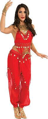 Adult Belly Dancer Costume (Deluxe Embellished Red Belly Dancer Sexy Adult Harem Girl Costume Small)