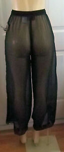 BLACK TULLE C-THRU PANTS EMBROIDERY DESIGNS BEACH CRUISE COVER  PLUS 1X