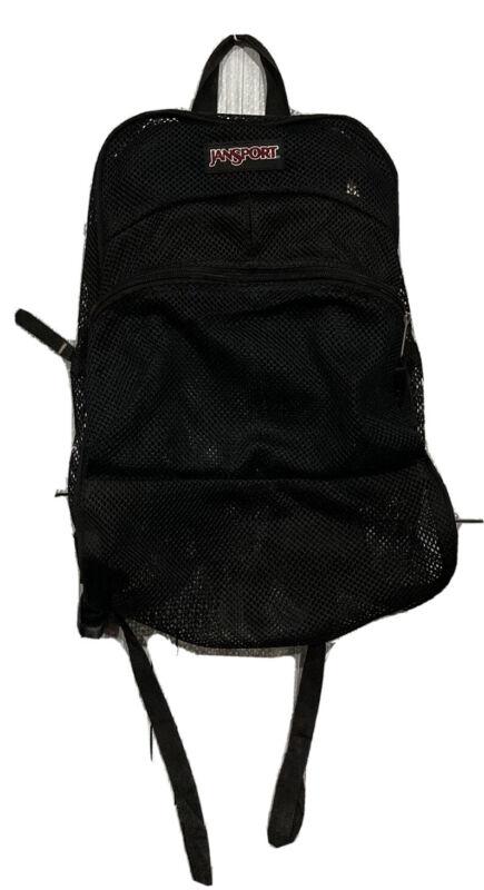 JanSport Black Mesh Clear Backpack School Bag
