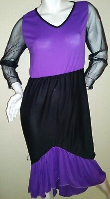 Purple Black Costume Dress Gown Dia De Los Muertos Lady of the Dead or Witch](Halloween Costumes Of Witches)