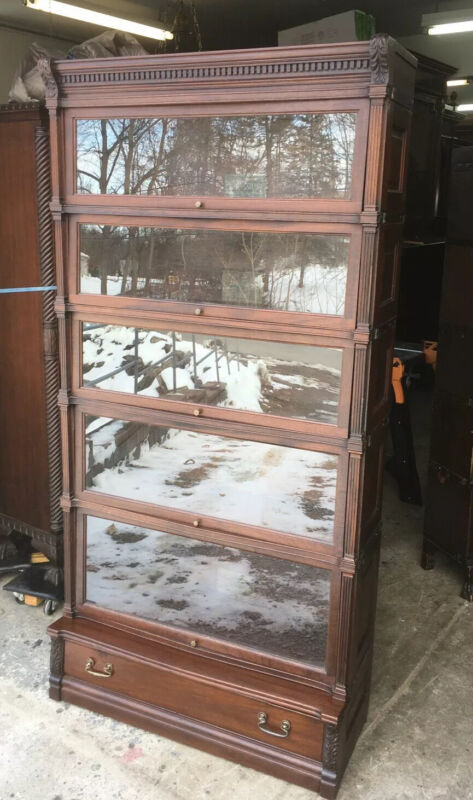 GLOBE WERNICKE IDEAL MAHOGANY 5 STACK BARRISTER BOOKCASE