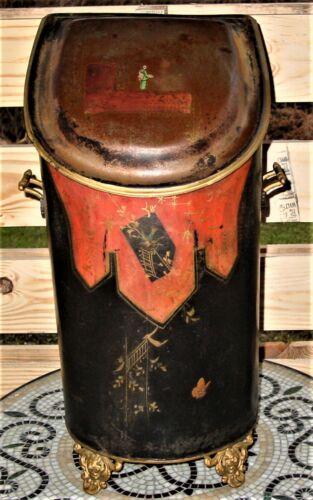 Antique Original Oriental Scuttle JEWETT C VASE Tole Art Coal Bin Rare