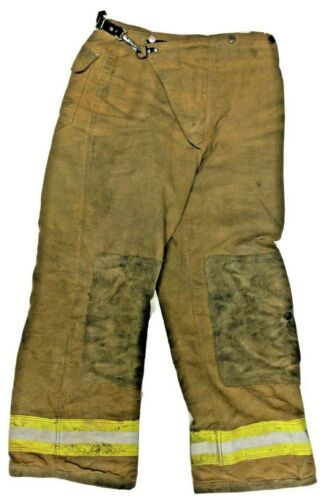 32x30 Globe Brown Firefighter Turn Out Pants with Yellow Tape No Liner PNL-15