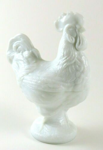 Vintage White Milk Glass Footed Rooster Bowl / Candy Dish With Lid