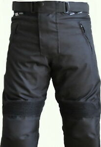 Men-Black-Textile-Waterproof-Motorbike-Motorcycle-Thermal-Armoured-Trouser-Pants