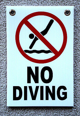 No Diving With Symbol 8 X12 Plastic Coroplast Sign With Grommets