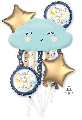 Twinkle Twinkle Little Star Happy Birthday Party Favor 5CT Foil Balloon Bouquet (Twinkle Birthday)