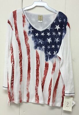 Jess and Jane Old Glory Patriotic American Flag Red White and Blue Shirt Size - Old Glory American Flag