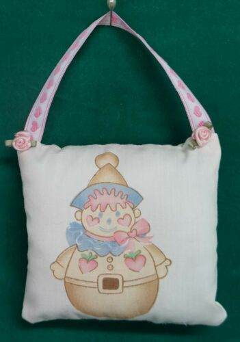 Handmade Fabric NURSERY DOOR KNOB HANGER Clown w/Pink Ribbon Hanger