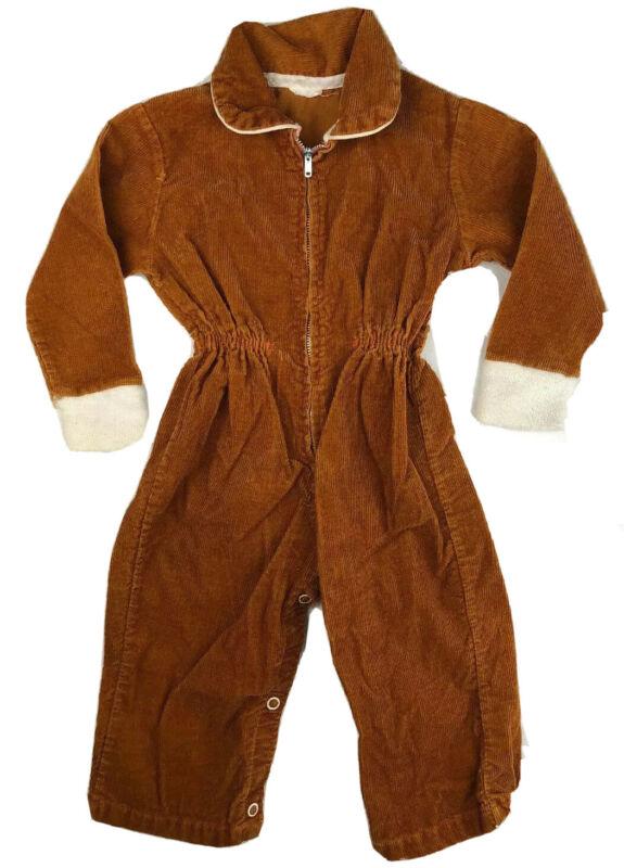 Vintage Corduroy Zippered Jumpsuit Romper 6-9 Months
