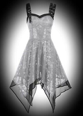 New Silver Chiffon & Skull Lace PVC Trim Eyelets Bustier Dress size 3XL 14 16 18