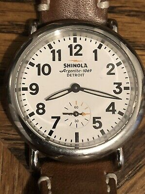 Shinola Argonite 1069 Detroit USA Swiss Parts Quartz watch Leather Band Works!