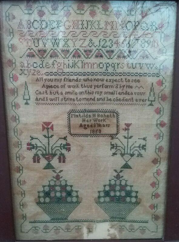 Antique Embroidered Needlework Sampler, Signed Matilda Bobeth Age 8, 1850 Silk