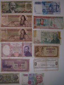 12 Asst.Italian, Mexican etc , bank notes from 60, 70 and 80's