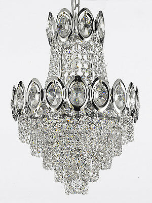 FRENCH EMPIRE CRYSTAL CHANDELIER LIGHTING FIXTURE PENDANT CEILING LAMP SLVR 4LTS