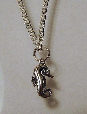 """925 Sterling Silver Seahorse Anklet Bracelet Chain 10""""Curb Link Design G1139"""