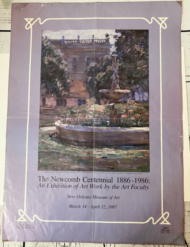 1987 Newcomb Pottery Centennial Poster 1886-1986 Vintage New Orleans Tulane