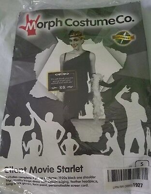 Black Morph Kostüm (NEW Silent Movie Starlet Morph Costume Co Womens Flapper Halloween Black Dress S)