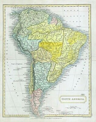 Original Map of South America by Sidney Hall c1840 hand colour antique