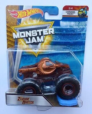 Hot Wheels Monster Jam Truck   ZOMBIE HUNTER Chroma Frost  Rare UK !!
