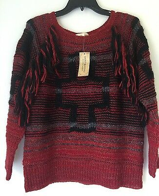 Denim & Supply Ralph Lauren Red Fringed Wool-Blend Sweater. Size S. $165.00