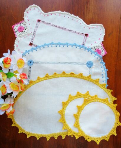 LOT: Vintage Lace -Edge Doilies For Your Vanity Table - Scottish Cottage Work