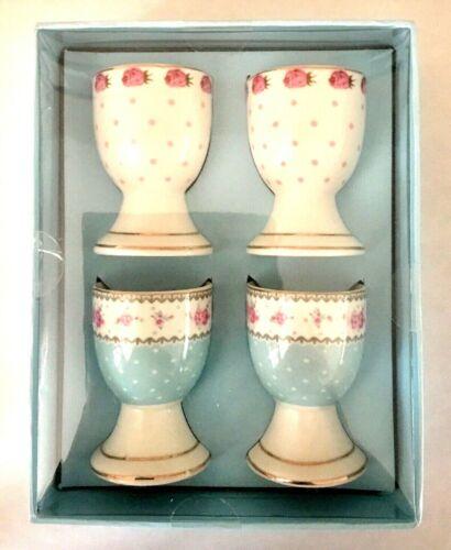 Porcelain Egg Cups ~ Floral Design ~ Set of 4 ~ New In Box