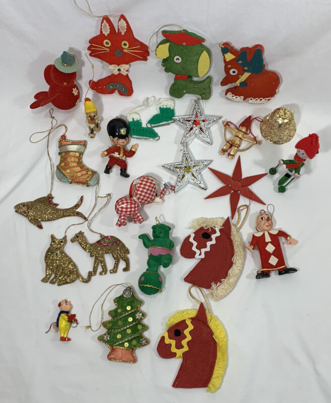 Vintage Flocked Plastic Stitched Christmas Tree Ornaments NON TRADITIONAL