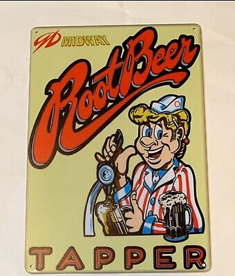 Root Beer Tapper Midway Tin Metal Sign Hires Frosty Double A And W A & W