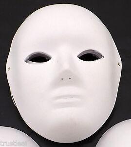 HIGH QUALITY PLAIN WHITE FANCY DRESS PARTY / MASQUERADE PAPIER MACHE PAPER MASKS