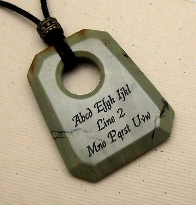 PERSONALIZED Silver Mist Jasper Faceted Trapezoid Necklace - Custom Engraved
