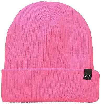 7d54d0694e1 Under Armour Women s Boyfriend Pink Punk White UA Versatile Cuffed Beanie  Sz OS