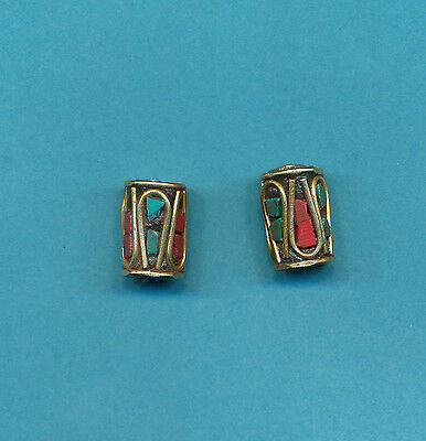 6 long barrel shaped design brass coral turquoise color, Tibetan Nepalese Beads