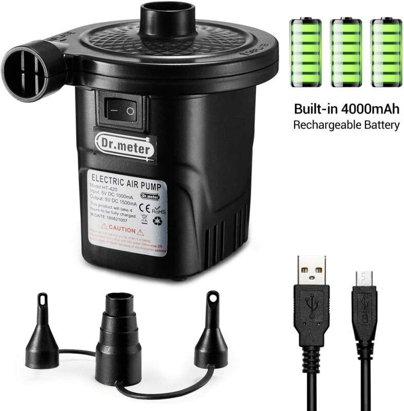 Rechargeable Air Pump, Dr.meter Portable Electric Air Pump Quick-Fill Inflator