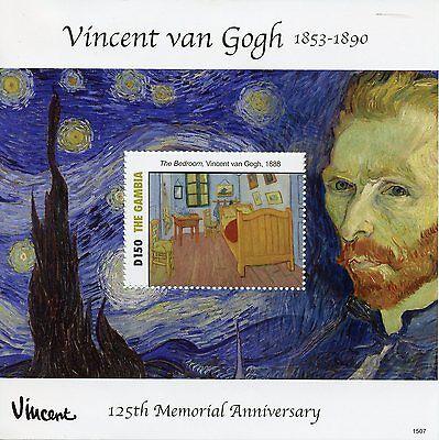 Gambia 2015 MNH Vincent Van Gogh 125th Memorial Anniv Bedroom 1v S/S Art Stamps