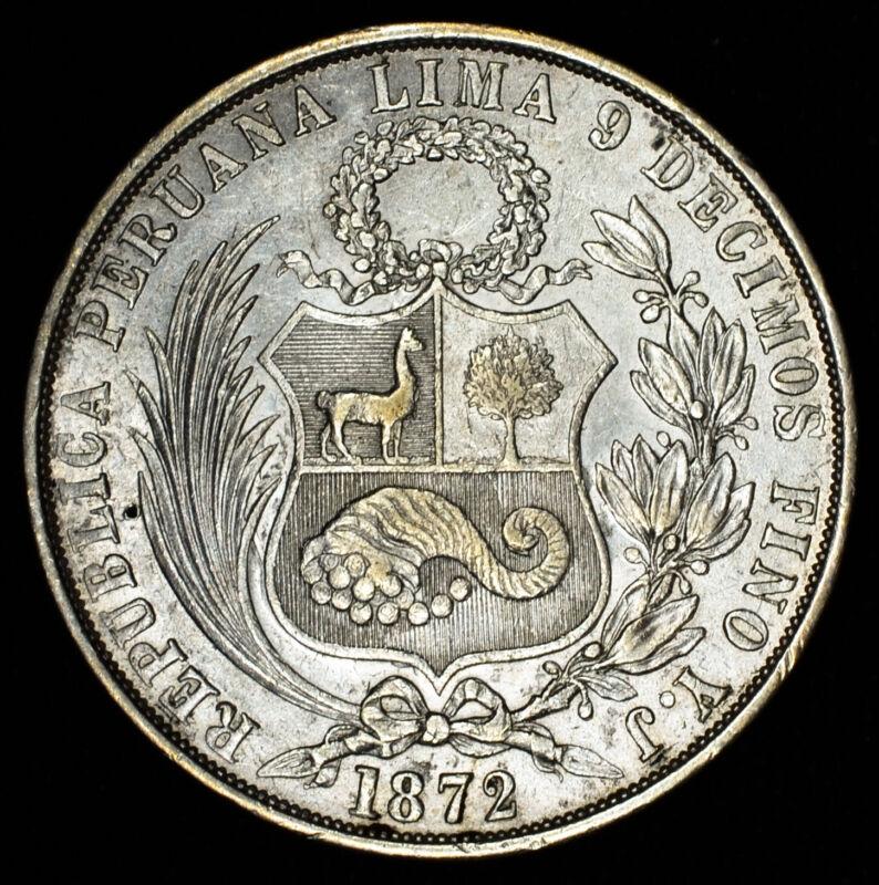Peru-South Peru 1 Sol 1872 YJ AU/UNC silver KM#196.3 Choice Lustrous