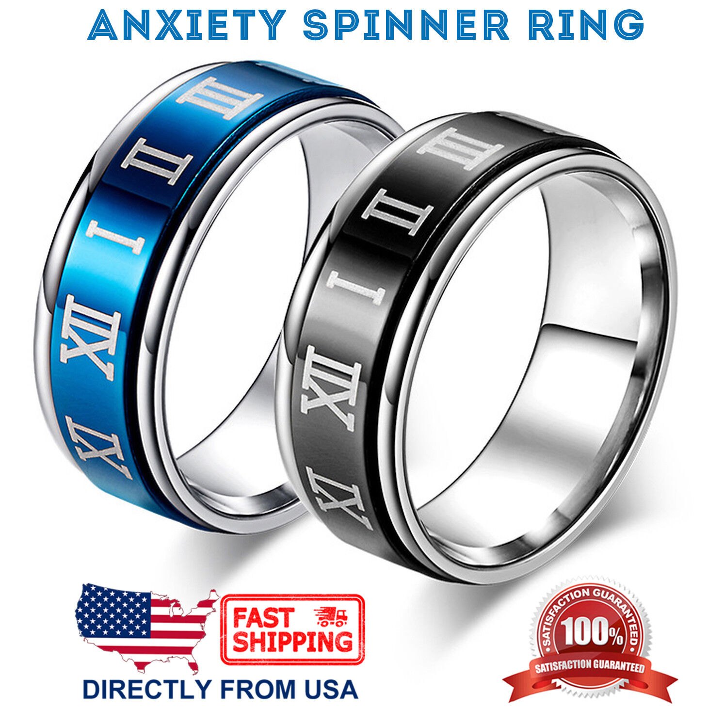 Men's Stainless Steel Wedding Band 8mm Roman Numerals Anxiety Spinner Ring Jewelry & Watches
